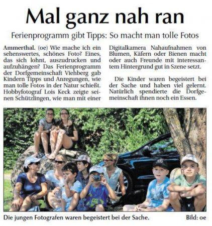 Ferienprogramm der Dorfgemeinschaft Viehberg - Bericht in der Amberger Zeitung vom 5.9.2015