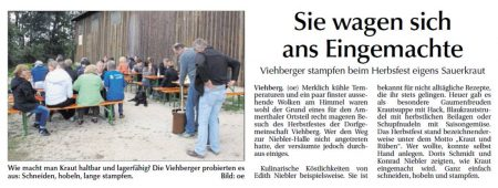 Herbstfest in Viehberg - Bericht in der Amberger Zeitung vom 30.09.2015