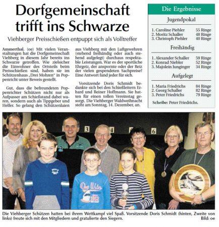 Preisschießen der Dorfgemeinschaft Viehberg - Bericht in der Amberger Zeitung