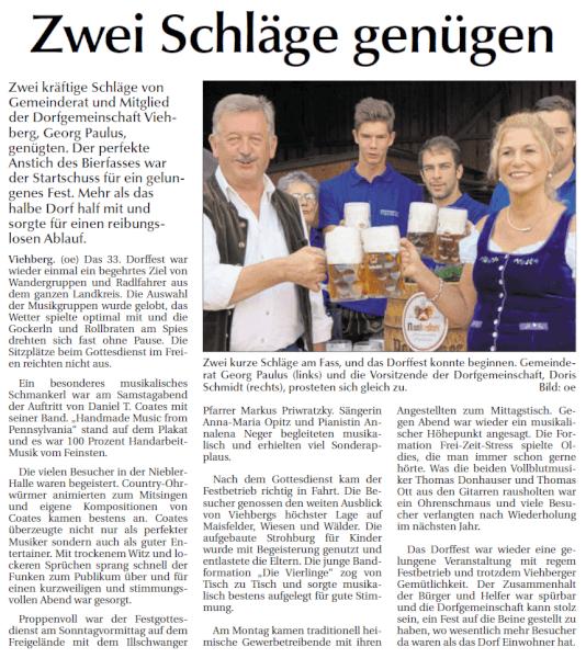 Dorffest in Viehberg – Bericht in der Amberger Zeitung