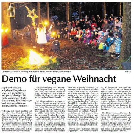 Waldweihnacht in Viehberg – Bericht in der Amberger Zeitung