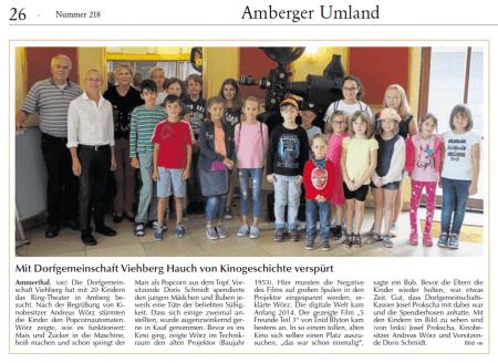 Viele Teilnehmer beim Ferienprogramm der Dorfgemeinschaft Viehberg - Bericht in der Amberger Zeitung