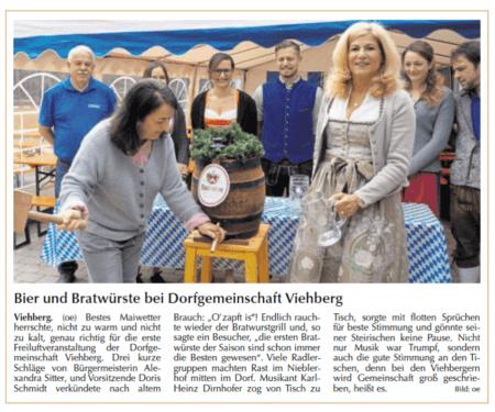 Maifest der Dorfgemeinschaft Viehberg - Bericht in der Amberger Zeitung