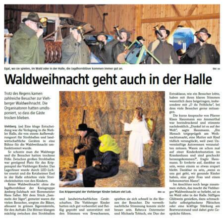 Bericht der Amberger Zeitung von der Waldweihnacht in Viehberg