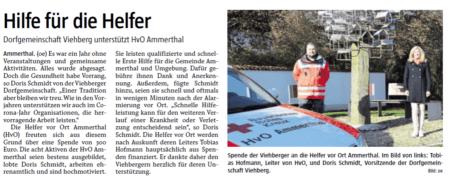 """Zeitungsbericht """"Hilfe für die Helfer"""""""