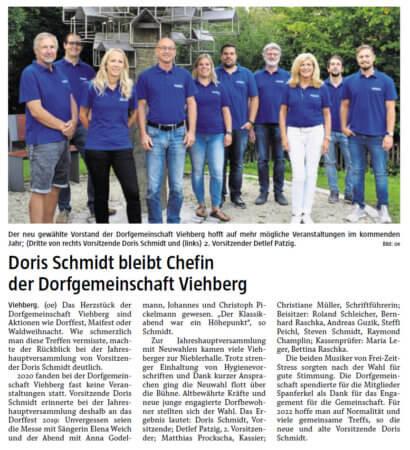 """Zeitungsbericht """"Doris Schmidt bleibt Chefin der Dorfgemeinschaft Viehberg"""""""
